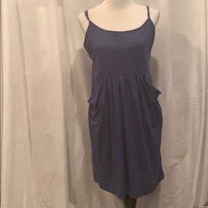 Blue jersey dress with pockets